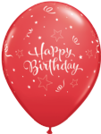 "11"" Happy Birthday Red Shining Star Latex Balloons x 25"